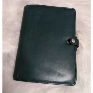 FILOFAX Leather Hunter Green Planner Organizer VTG